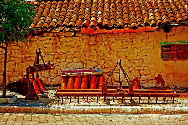 Cultivation Digital Art - A Digitally Converted Painting Of Farm Machinery In A Turkish Village by Ken Biggs