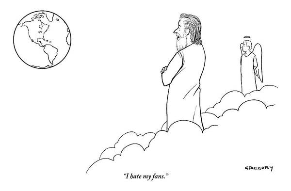 Earth Drawing - A Disappointed-looking God Remarks To An Angel by Alex Gregory