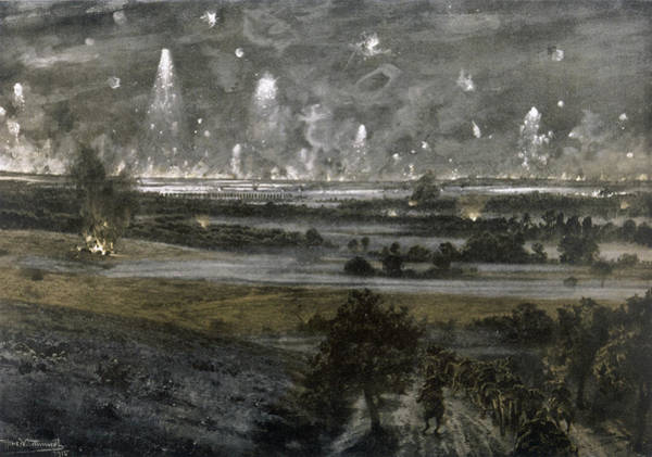 Night Time Drawing - A Distant View Of The Night- Time by Mary Evans Picture Library