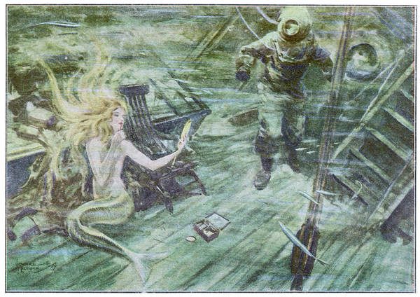 Folklore Drawing - A Diver Exploring A Wrecked  Ship by Mary Evans Picture Library