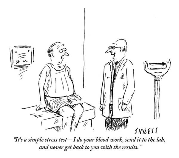 Blood Tests Drawing - A Doctor Checks In With His Balding Patient by David Sipress