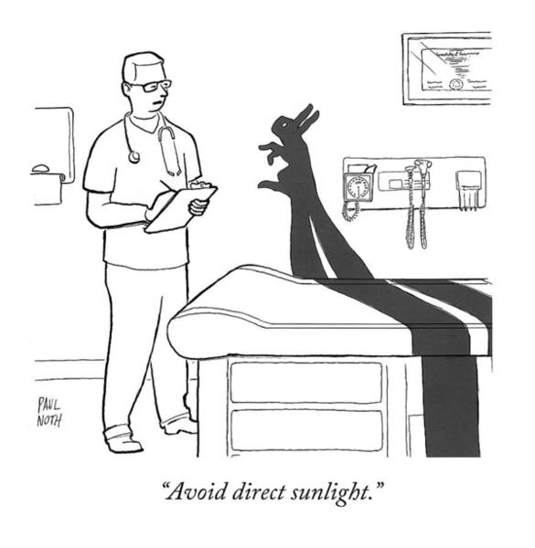 Shadows Drawing - A Doctor Consults A Shadow Puppet Of A Rabbit by Paul Noth
