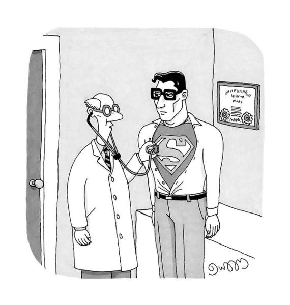 Kryptonite Drawing - A Doctor Listens To Clark Kent's Heartbeat by J.C.  Duffy
