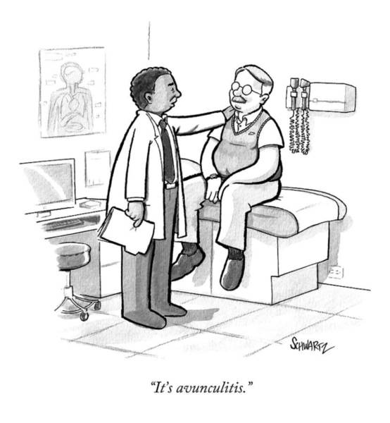 May 23rd Drawing - A Doctor Tells An Older Man by Benjamin Schwartz