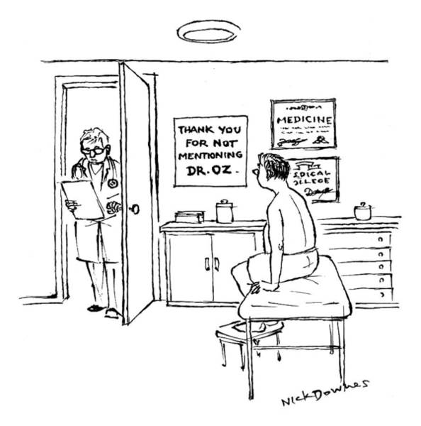 Doctor Drawing - A Doctor Walks Into An Office Where A Patient by Nick Downes