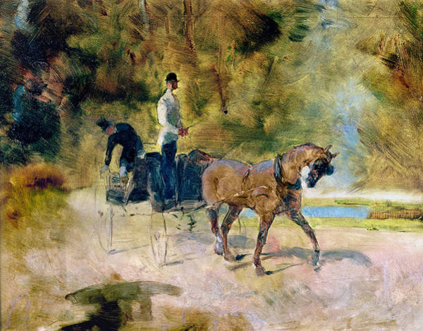Impressionist Photograph - A Dog-cart, 1880 Oil On Canvas by Henri de Toulouse-Lautrec