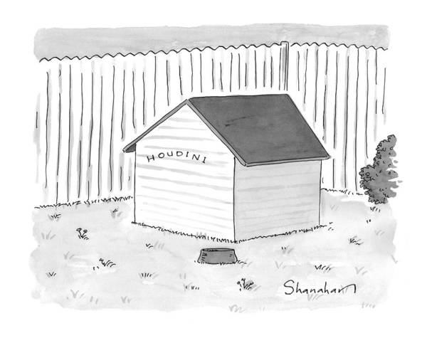 A Dog House With No Doors Is Seen With The Sign Art Print