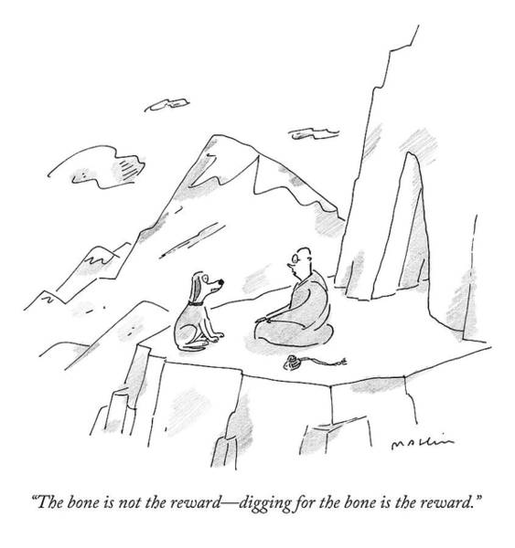 Wall Art - Drawing - A Dog Speaks To A Guru On Top Of A Mountain by Michael Maslin