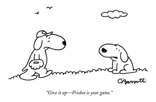 Sports Drawing - A Dog Talks To Another Dog Wearing Baseball Gear by Charles Barsotti