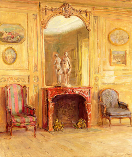 Fireplace Painting - A Drawing Room by Walter Gay