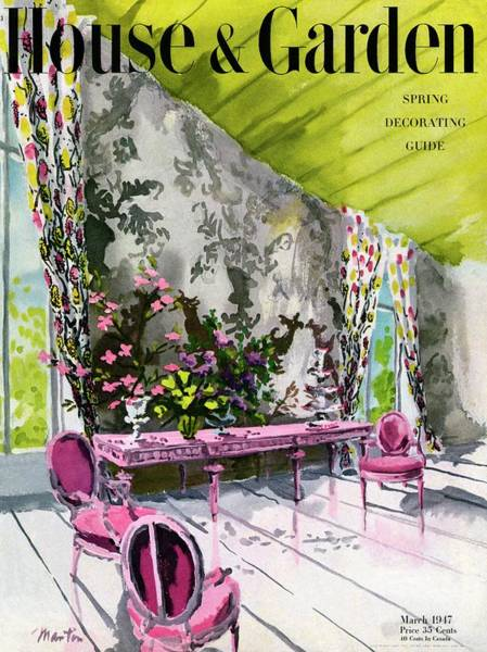 Tempera Photograph - A Drawing Room With Schumacher Wallpaper by Tom Martin