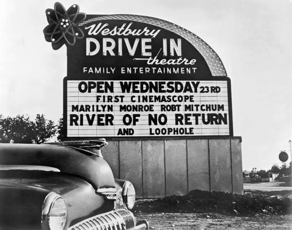1954 Photograph - A Drive-in Theater Marquee by Underwood Archives