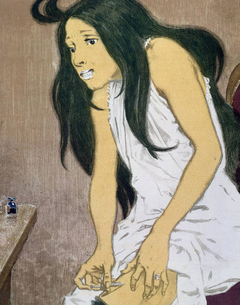 Needs Painting - A Drug Addict Injecting Herself by Eugene Grasset