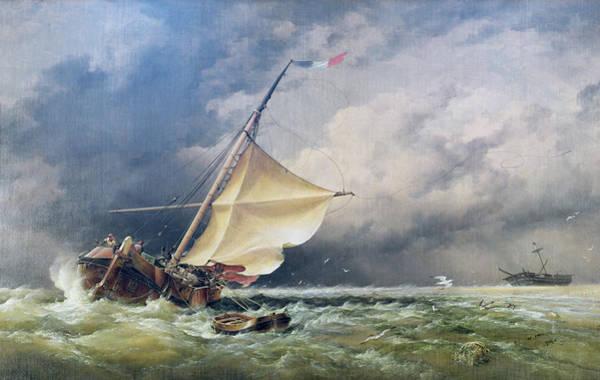 Rudder Painting - A Dutch Beurtman Aground by Edward William Cooke