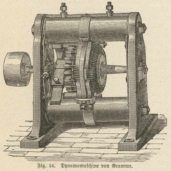 Developed Drawing - A Dynamo (electricity  Generator) by Mary Evans Picture Library