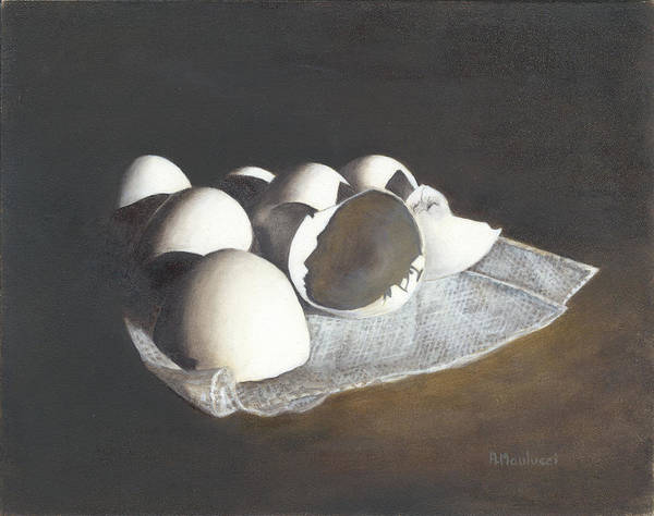 Broken Egg Painting - A Face In The Crowd by Ann Maulucci
