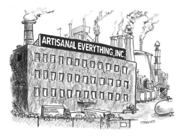 Organic Drawing - A Factory Stands With The Label Artisanal by Pat Byrnes