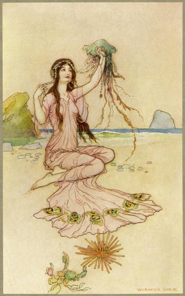 Folklore Drawing - A Fairy By The Sea by Mary Evans Picture Library