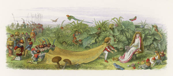 Folklore Drawing - A Fairy Prince Pays Court To A  Fairy by Mary Evans Picture Library