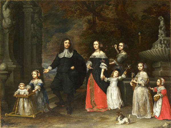 Gonzales Wall Art - Painting - A Family Group by Gonzales Coques