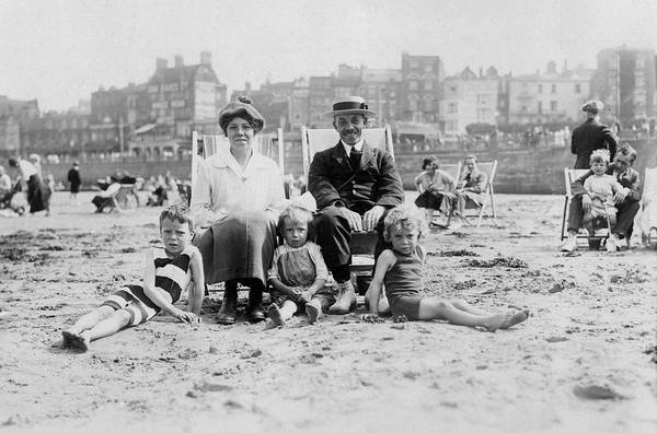 Wall Art - Photograph - A Family Group On The Beach  Mother by Mary Evans Picture Library