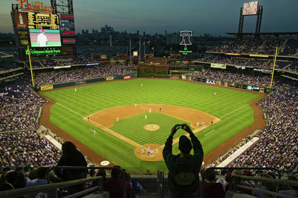 Citizens Bank Park Wall Art - Photograph - A Fan With A Digital Camera Taking by Panoramic Images