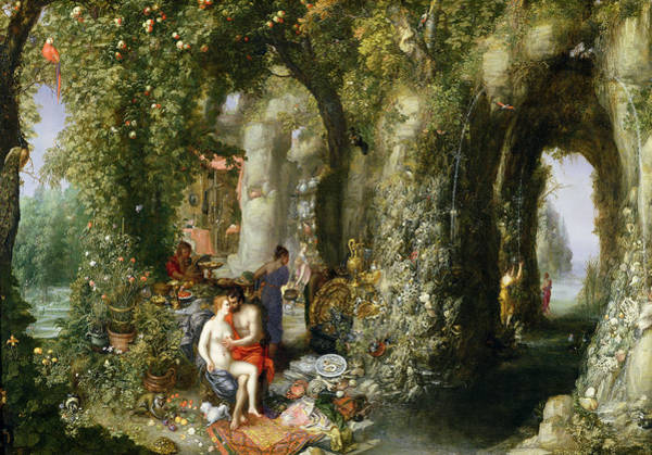 Mythological Photograph - A Fantastic Cave With Odysseus And Calypso Oil On Canvas by Jan the Elder Brueghel
