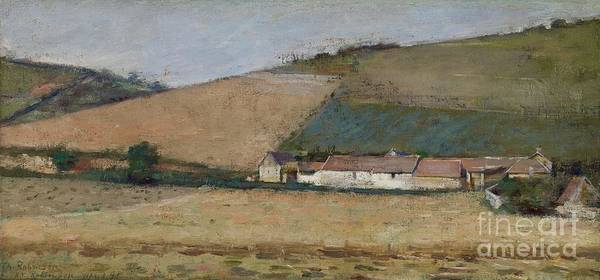 Crop Painting - A Farm Among Hills by Theodore Robinson