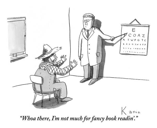 Farmer Drawing - A Farmer Objects To A Doctor's Eye Exam Letter by Zachary Kanin