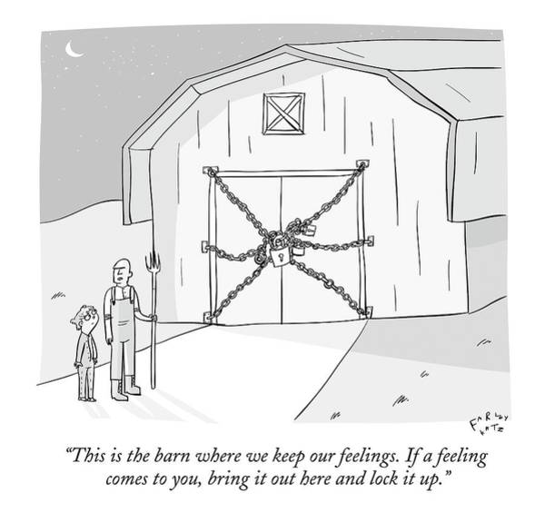 Fathers And Sons Drawing - A Farmer Shows His Son A Barn That Is Locked by Farley Katz