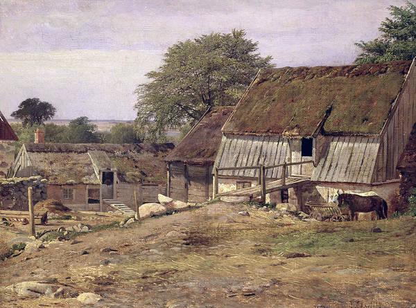 Farmstead Photograph - A Farmhouse In Sweden, 1834 Oil On Canvas by Louis Gurlitt