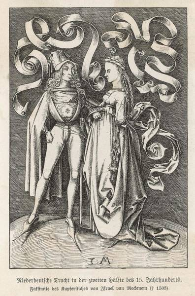 Pregnancy Drawing - A Fashionable Couple From Lower Germany by Mary Evans Picture Library