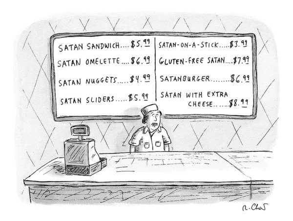 Satan Drawing - A Fast Food Employee Stands In Front Of A Menu by Roz Chast
