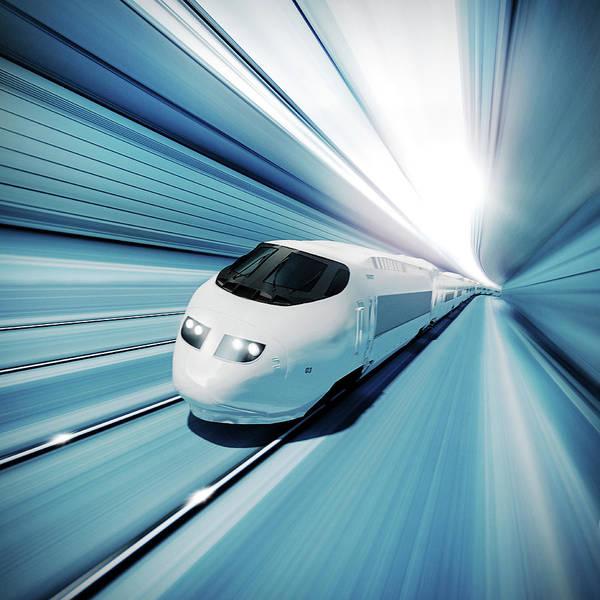 Train Tracks Digital Art - A Fast Modern Train Speeding Through A by Doug Armand