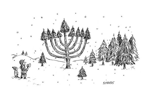 Fathers And Sons Drawing - A Father And Child See A Menorah-shaped Christmas by David Sipress