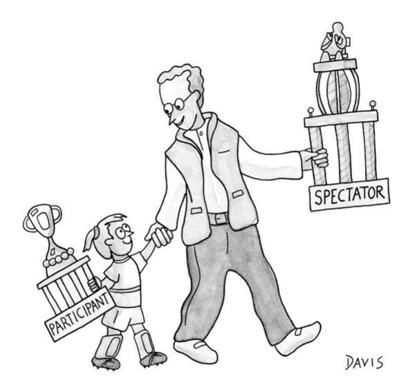 Sports Drawing - A Father And Daughter Both Walk by Mathew Stiles Davis