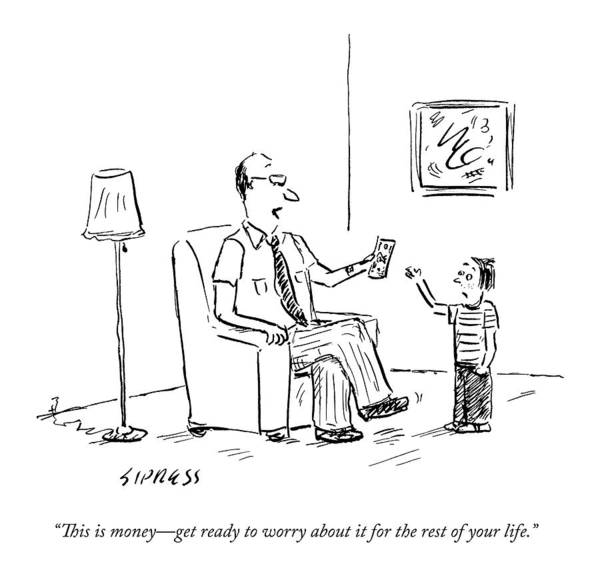 Money Drawing - A Father Gives His Son Some Cash by David Sipress