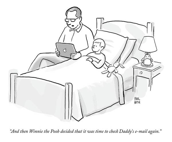 Fathers And Sons Drawing - A Father Is Reading His Son A Bedtime Story by Paul Noth