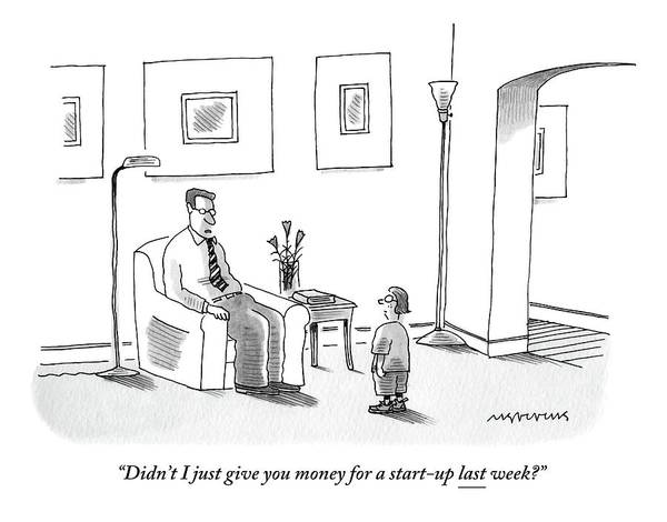 Money Drawing - A Father Sitting On A Chair Questions His Child by Mick Stevens