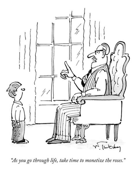 Fathers And Sons Drawing - A Father Speaks To His Son by Mike Twohy