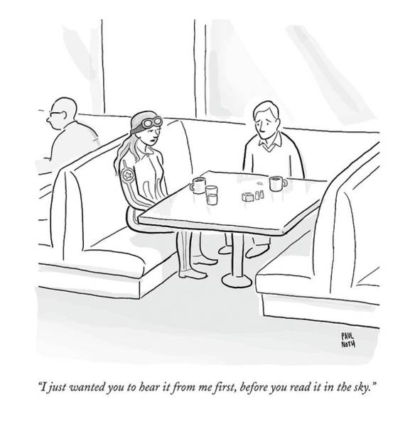 January 27th Drawing - A Female Pilot And Her Boyfriend Sit by Paul Noth