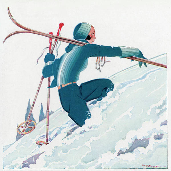 Wall Art - Drawing - A Female Skier Makes Her Way by Mary Evans Picture Library