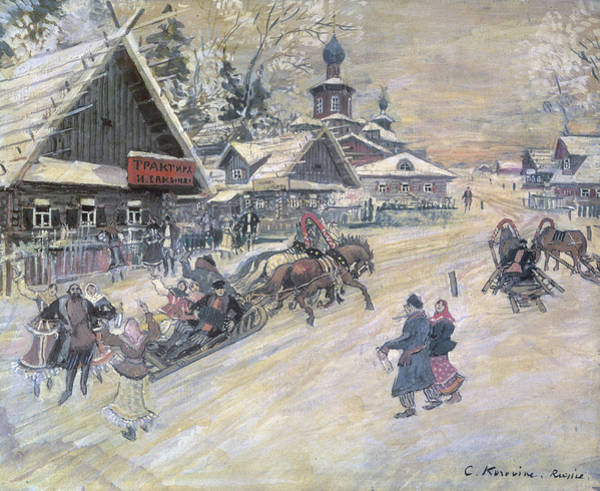 Winter Walk Painting - A Festive Walk, Russia by Konstantin Alekseevich Korovin