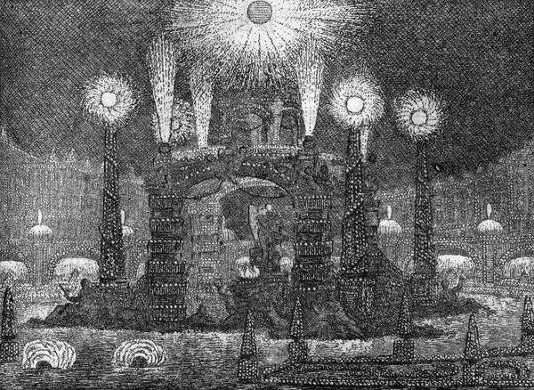 Fireworks Drawing - A 'feu D'artifice' In  18th Century by Mary Evans Picture Library