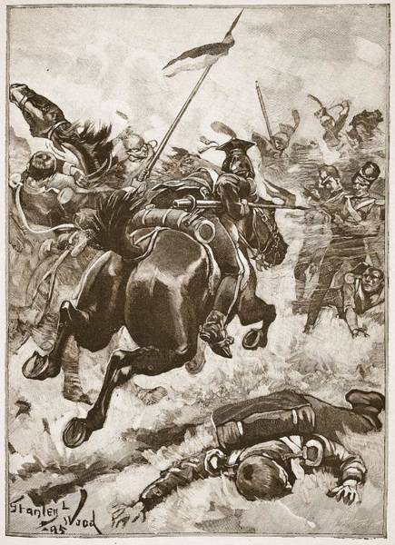 Horseback Drawing - A Fierce Hand-to-hand Fight Ensued by Stanley L. Wood