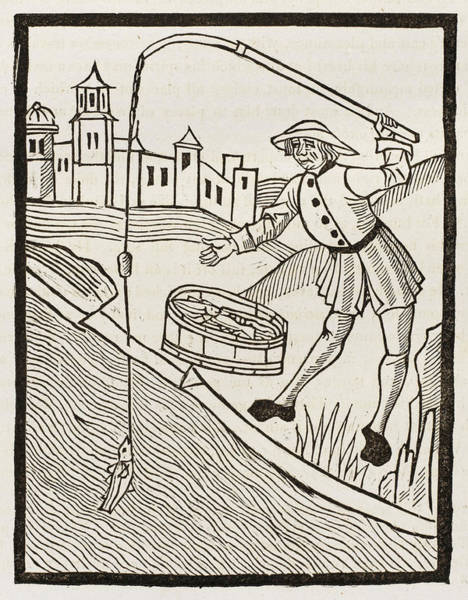 Angle Drawing - A Fifteenth Century Angler  Makes by Mary Evans Picture Library