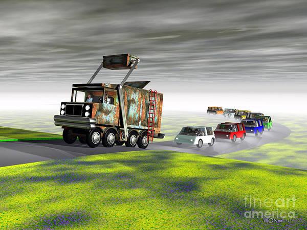 Dump Truck Digital Art - A Final Consignment by Walter Neal