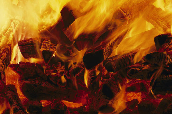 Wall Art - Photograph - A Fire Purns In A Pottery Kiln by Peter Essick