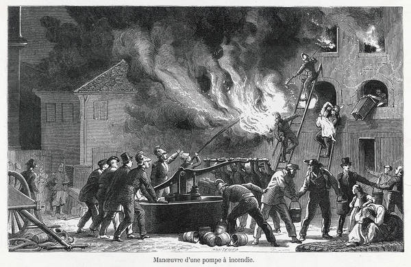 Wall Art - Drawing - A Firefighting Team Use A  Pump To Fill by Mary Evans Picture Library