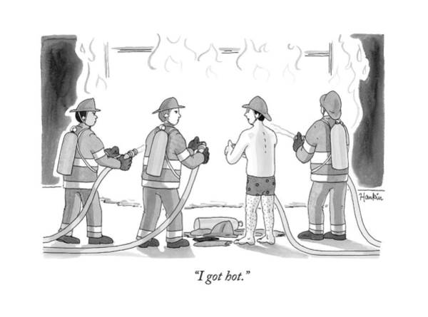 Hot Drawing - A Fireman In His Boxers Talks To His Colleagues by Charlie Hankin